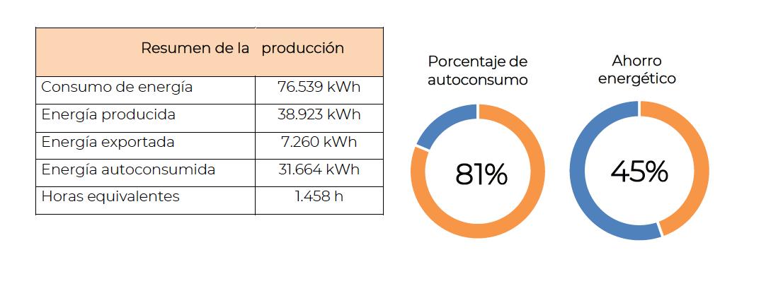 porcentaje de autoconsumo y ahorro energético según el análisis de curva de carga